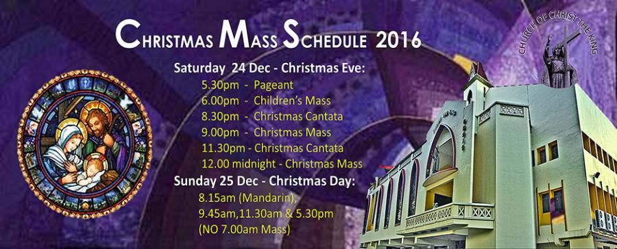 Christmas Mass Schedule – 2016