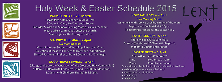 Holy Week & Easter Services Schedule 2015