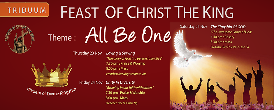 "Feast of Christ The King – Triduum 2017 – ""All be One"""