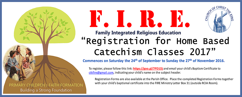 F.I.R.E. Registration 2017 for Home Based Catechism